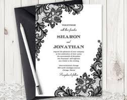 black and white invitations black invitation etsy