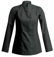 clement cuisine vetement veste de cuisine femme manches longues carré sienne noir clément