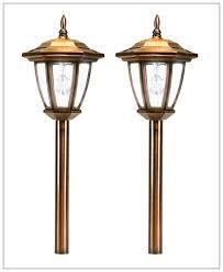 solar copper led path lights carriage lanterns 7 led colors 2 pack