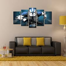 canvas wall art pictures 5 panel star wars characters frame
