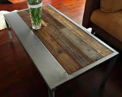 vintage wood coffee table reclaimed wood coffee table with inlayed metal strips