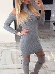 light gray long dress shoulder mini sweater dress light gray stretchy ribbed knit