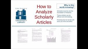 Articles How To Analyze Scholarly Articles Youtube