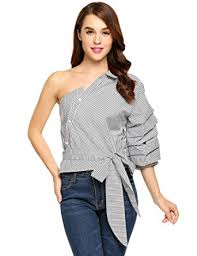 one shoulder blouse zeagoo casual one shoulder blouse waist bow top puff sleeve
