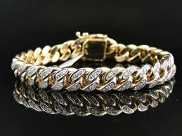 yellow gold bracelet with diamonds images Mens solid yellow gold miami cuban genuine 12 mm diamond bracelet jpg