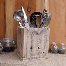 kitchen utensil canister rustic kitchen utensil storage holder reclaimed wood box