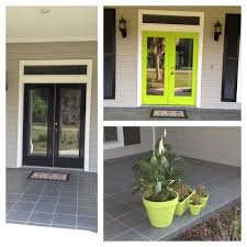 before and after of my front door color is center stage by