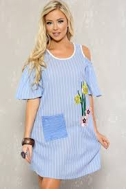 light blue white shoulder cut outs rose patch short sleeve casual