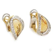 citrine earrings jewelry superoro superoro 18k white yellow gold diamond