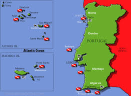 Portugal World Map by Diving In Portugal Diving Information Dive Sites And Dive Centers