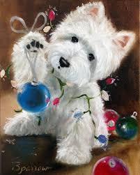 needlepoint canvas print westie west highland terrier