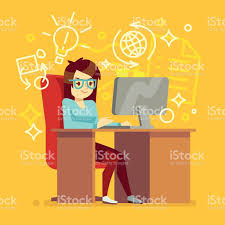 graphic design works at home creative work at home office with computer vector