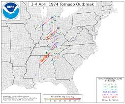 Map Of Tri State Area Looking Back At The April 3 4 1974 Super Outbreak U S Tornadoes