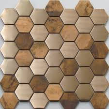 0970 hexagon copper mosaic tiles mosaics kitchens and house