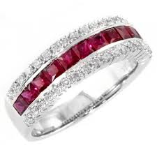 ruby eternity ring 18ct white gold 1 17ct ruby 0 37ct diamond half eternity ring