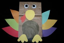 thanksgiving day paper bag turkey puppet craft preschool education