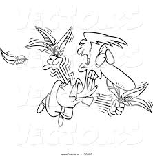 vector of a cartoon man trying to fly with feathers outlined