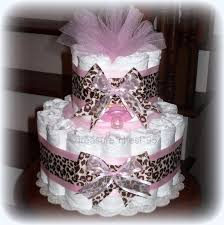 baby shower leopard pink brown diaper cake baby shower