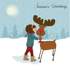 christmas card with cute little caress a reindeer vector
