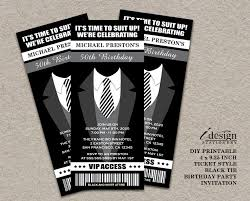 tuxedo 50th birthday party ticket invitation printable ticket