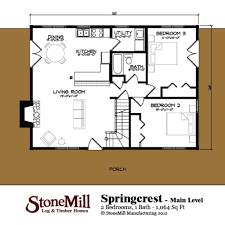 Floor Plans With Wrap Around Porch by Springcrest Log Floor Plan Stonemill Log U0026 Timber Homes