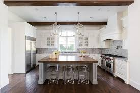 Wood Tops For Kitchen Islands Wood Top Island With Lucite Counter Stools Transitional Kitchen