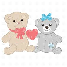 two teddy bears with red heart vector image 22442 u2013 rfclipart