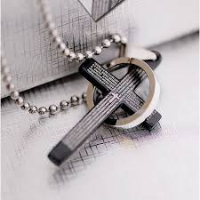 mens necklace with cross images Classical black holy bible men 39 s titanium cross pendant titanium jpg