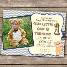 boy invitation 1st birthday teddy bear invitation 5x7 1 year