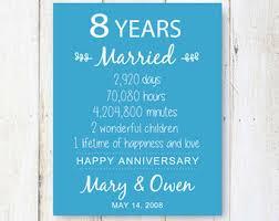 8th wedding anniversary eight anniversary etsy