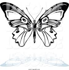 clipart of a black and white butterfly flying and shadow logo by