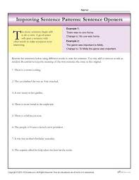 sentence patterns sentence openers writing worksheets