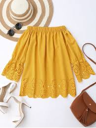 yellow blouse the shoulder laser cut top yellow blouses s zaful