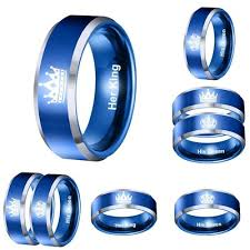 blue steel rings images Qoo10 hot her king his queen rings blue couples engagement jpg