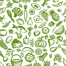 seamless pattern food healthy food seamless pattern sketch for your design stock vector