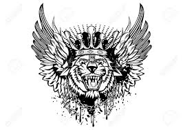 illustration tiger with crown and wings royalty free cliparts