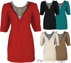 ladies 3 4 sleeve short dress womens beaded tunic long party top t