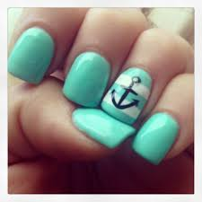 60 cute anchor nail designs nautical nails mint color and gel