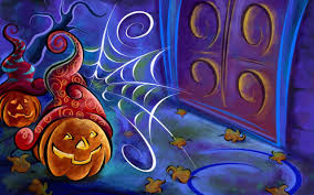 halloween pumpkins and spider web drawing hd wallpaper