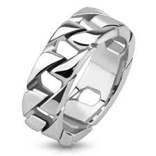 stainless steel mens rings tire tracks polished silver stainless steel chain link men s