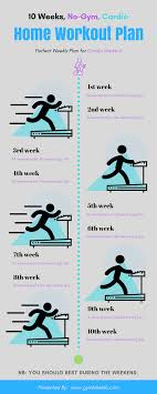 home work out plans 10 week no gym home workout plan for cardio exercise infographic
