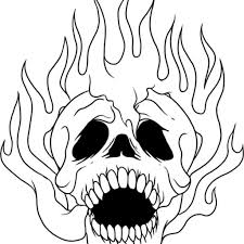 flaming skull coloring pages aecost net aecost net