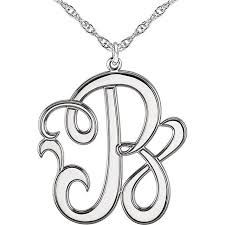 script monogram necklace 22 mm 1 letter script monogram necklace