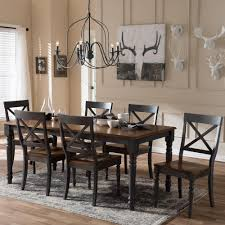 baxton studio rosalind 7 piece gray and medium brown wood dining