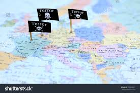 Germany On A World Map by Three Terror Warning Flags Over France Stock Photo 355924961