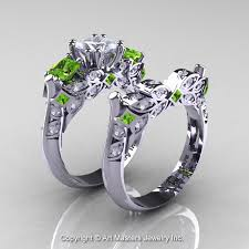 peridot engagement ring classic 14k white gold three princess white sapphire peridot