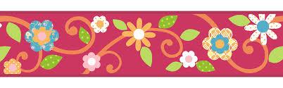 roommates scroll floral peel u0026 stick border magenta orange