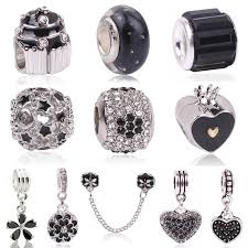 silver charm bead necklace images Buy couqcy high quality white flower black murano jpg
