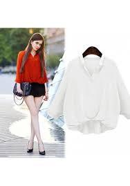 elastic waist blouse autumn half flared sleeves asymmetric hem elastic waist blouse