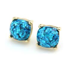 glitter stud earrings women s 2016 glitter stud earrings small square earrings 14 colors